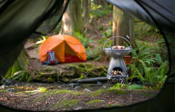 The BioLite Base Camp Stove in it's natural habitat